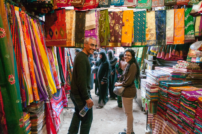 Ashu and Rajoshi explore the Charminar market area, Hyderabad.
