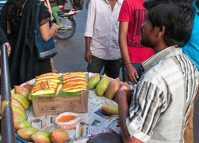 Green mangoes with masala, Sampige Road, Malleswaram, Bangalore.