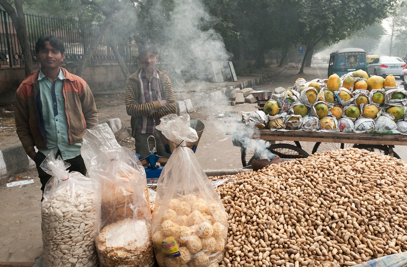 Two boys pause from selling coconuts, peanuts, and other snacks. Every peanut seller has a smoking pot -- to warm the peanuts? (New Delhi)
