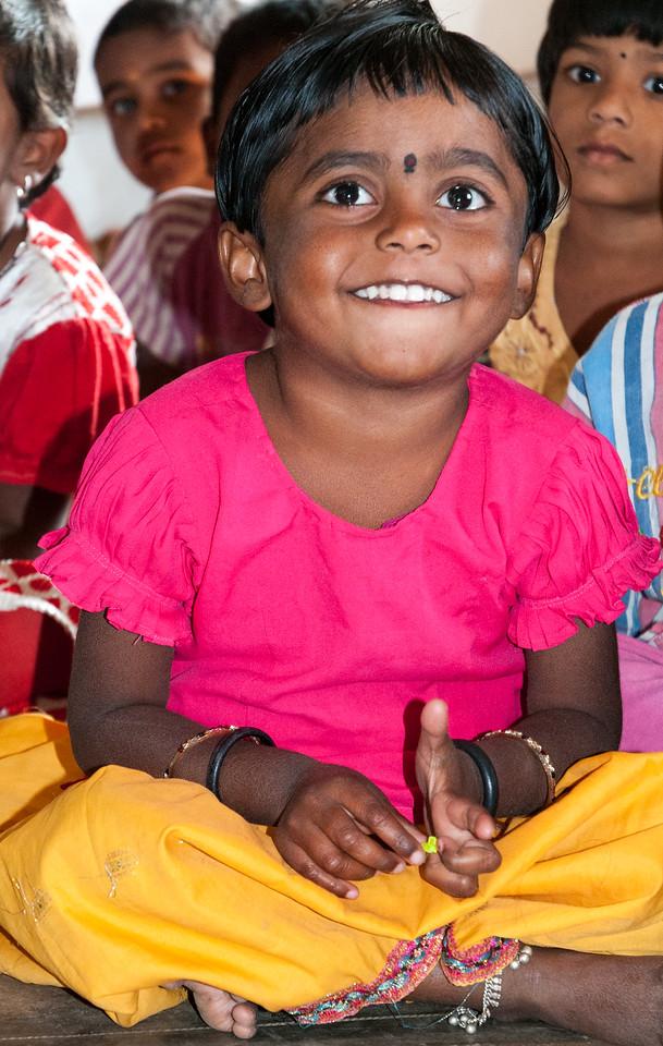 Children in the village of Rajballaram, near Hyderabad.