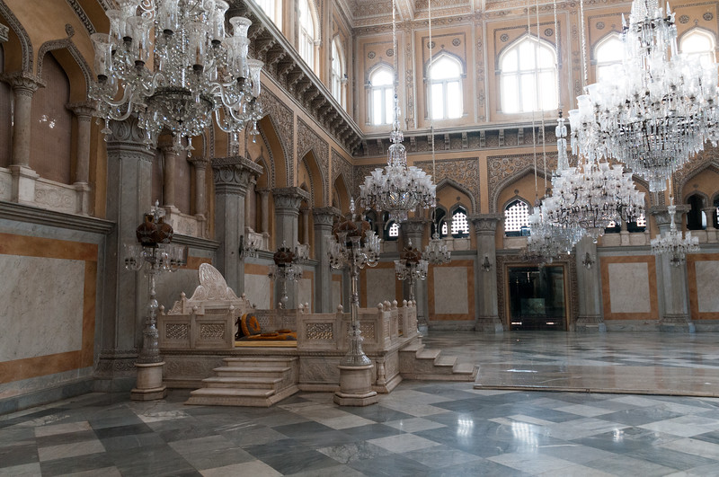 Formal hall and audience area at the Chowmahalla Palace, Hyderbad.