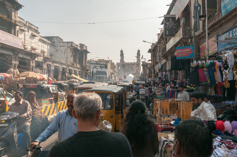 A busy day at the Charminar market area, Hyderabad.