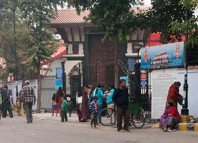 Families visiting Ayyappa Temple on Sunday afternoon. (New Delhi)