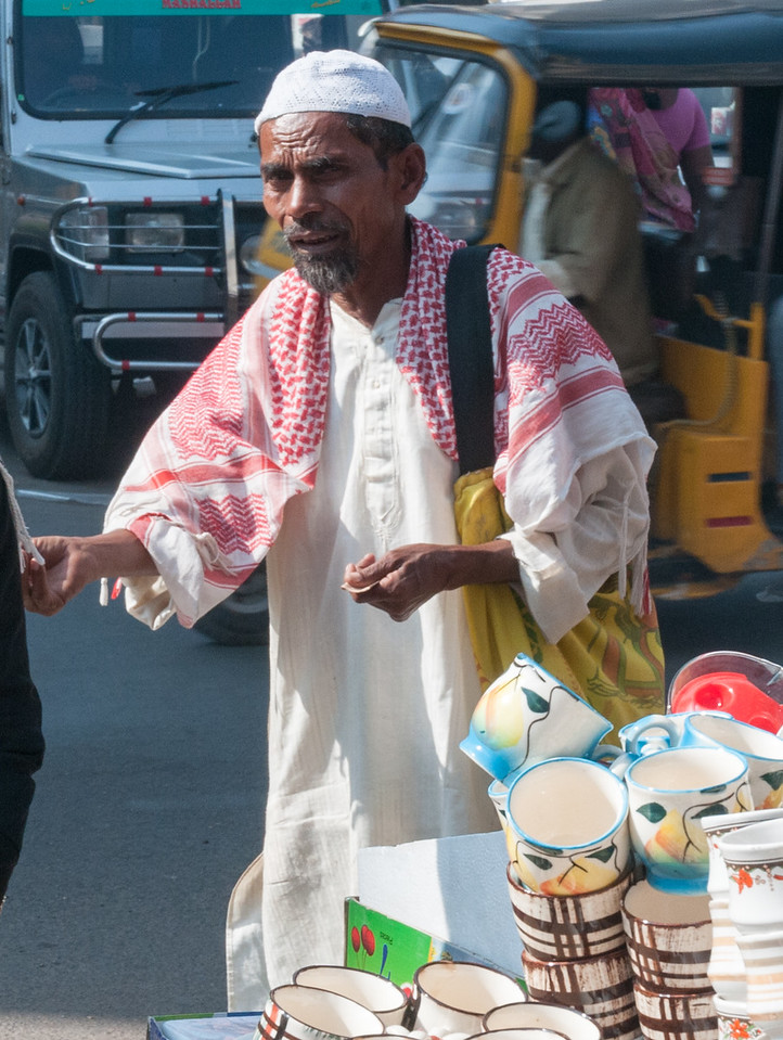 A vendor (shopper?) in the Charminar market area, Hyderabad.
