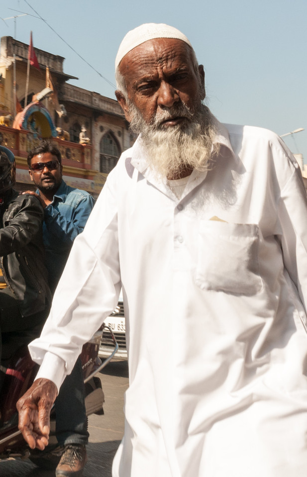 An elderly gentleman in the Charminar market area, Hyderabad.