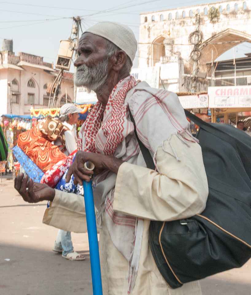 Beggar in Charminar market area, Hyderabad.