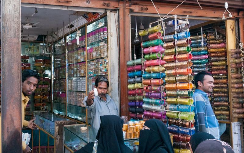 A bangle shop, Charminar market area, Hyderabad.