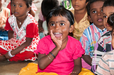 Children in the village of Rajballaram, near Hyderabad.
