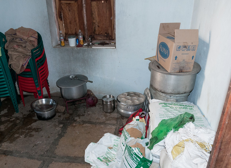 The kitchen of a government-run children's center. Village of Rajballaram, near Hyderabad.