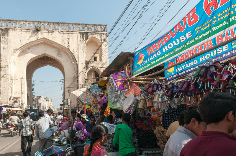 Festival Kites for sale in Charminar market area, Hyderabad.