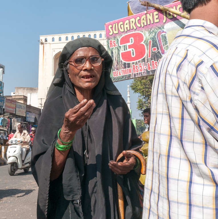 An elderly woman in the Charminar market area, Hyderabad.