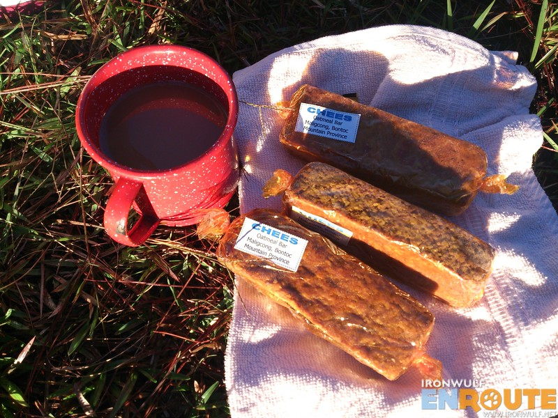 Coffee and home-made oat bars while on the summit