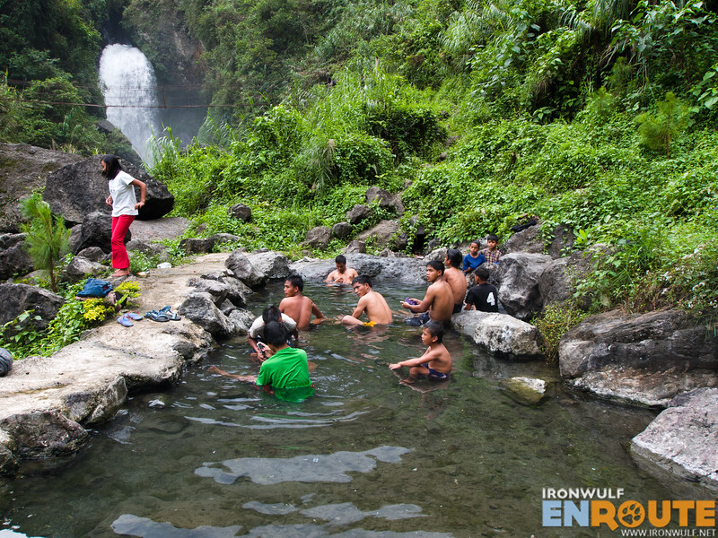 Visitors from Tabuk enjoying the hot spring near the falls