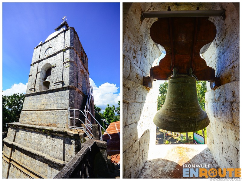 The bell tower and one of the old cracked bell