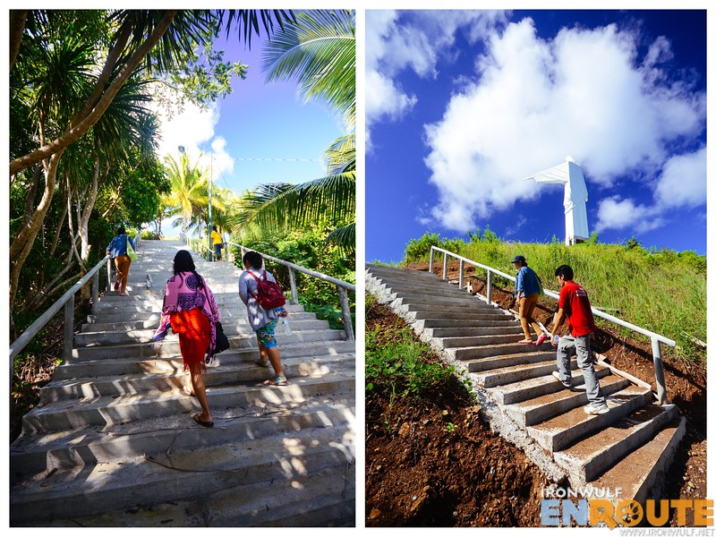Climbing the 100+ steps to the shrine