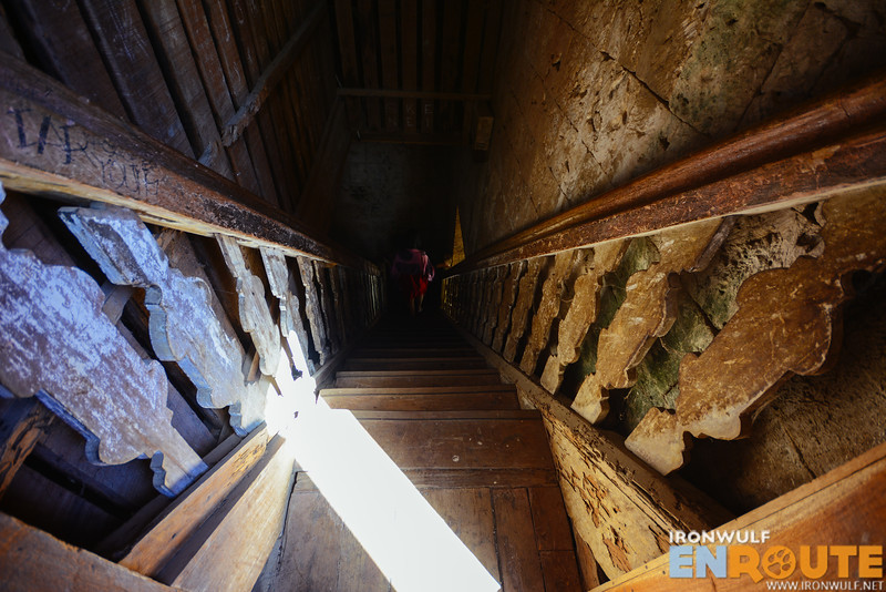 Original wooden stairs to the bell tower