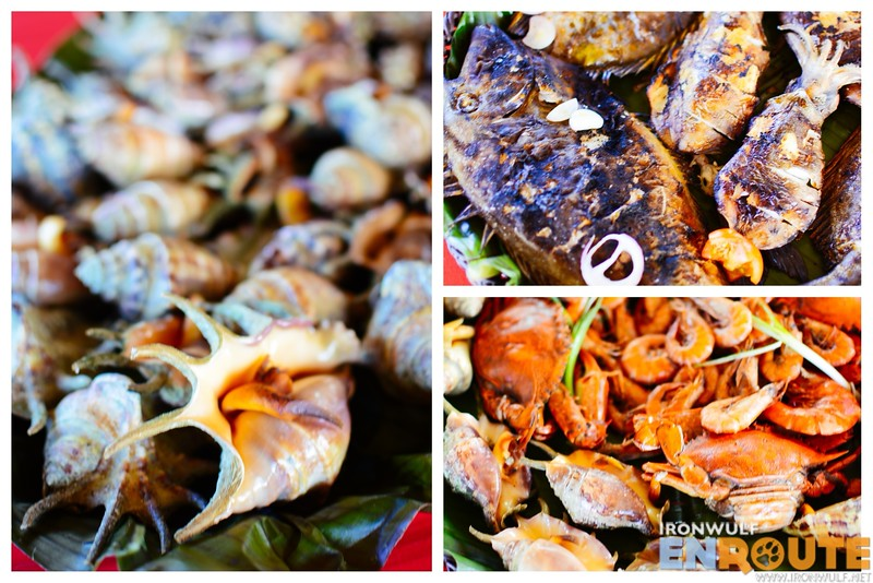 Our lunch Saang shells, kitong and sunghan fish, crabs and shrimps