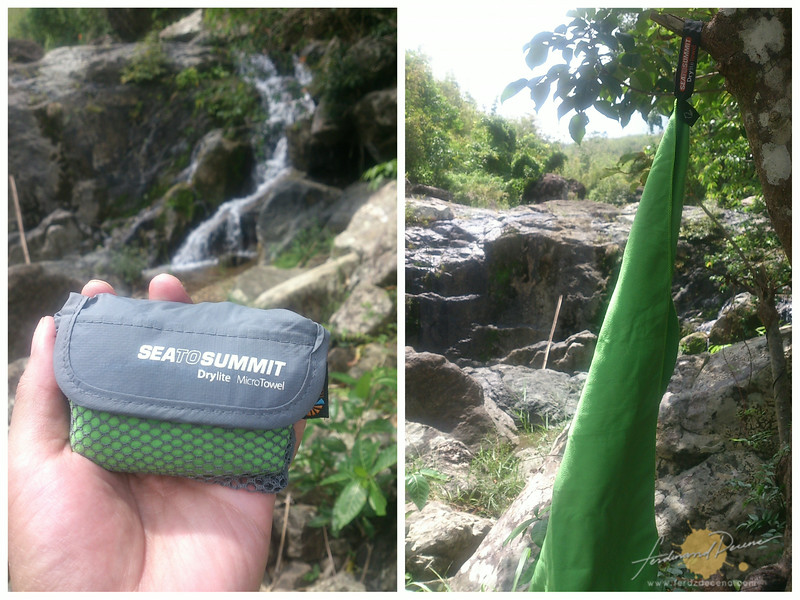 Sea to Summit micro towel for a quick dry up from the falls