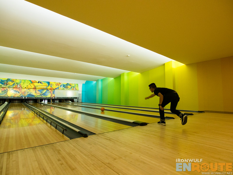 Colorful bowling room