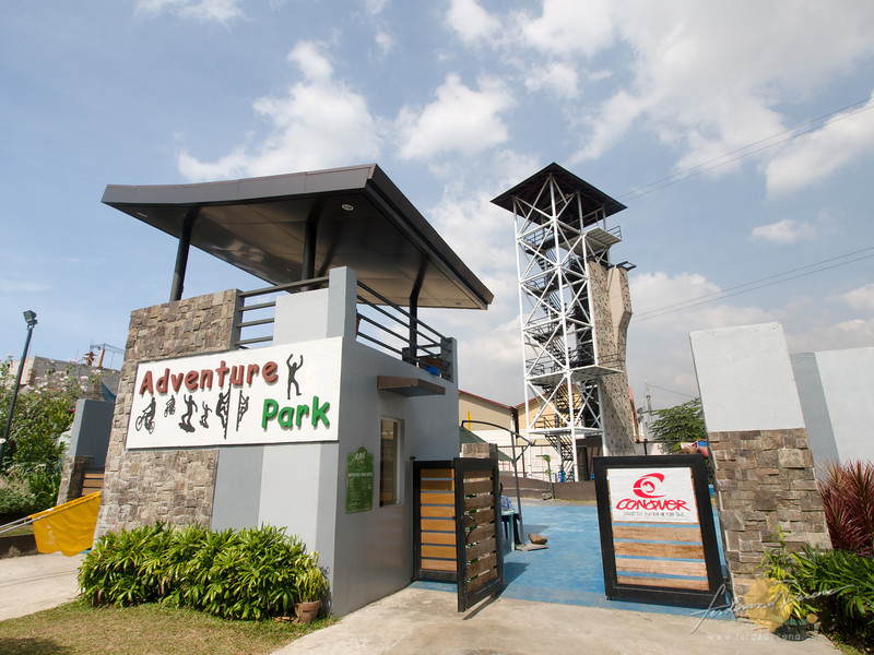 Adventure park for bike and skateboard ramps, wall climbing, rappelling and zipline