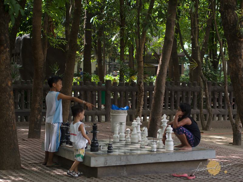 Large chess pieces at the chess pavillion area
