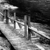 Salmon fishing platform along the Riviere Petit Saguenay, which was fully damned and locked until around 1916 to feed the lumber industry.