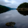 Early morning calm at the Qaui du Petit Saguenay at high tide..