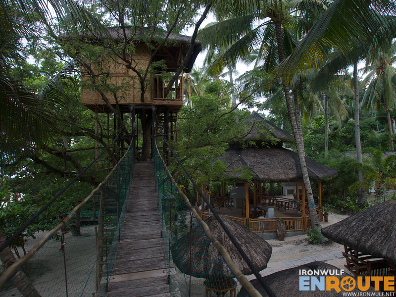 A hanging bridge connecting to the tree house