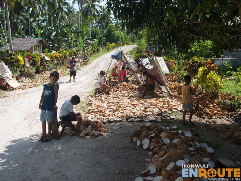 Copra farm workers by the roadside