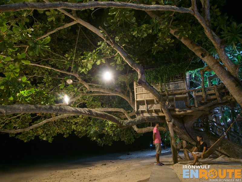 Hammock and benches by the lower tree house