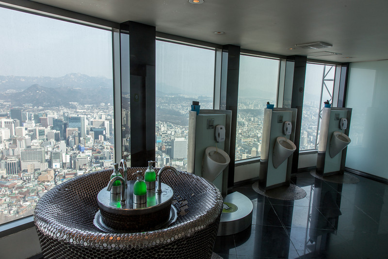 Men's restroom, Seoul Tower