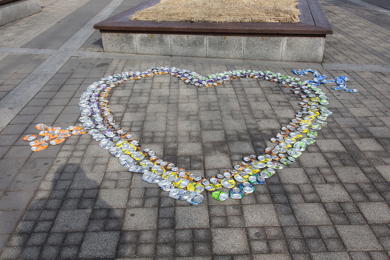 Smashed soda can art, Seoul Tower