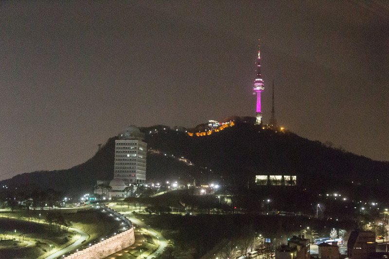 View of Namsan Park and Seoul Tower from Hilton Millenium Hotel, Seoul
