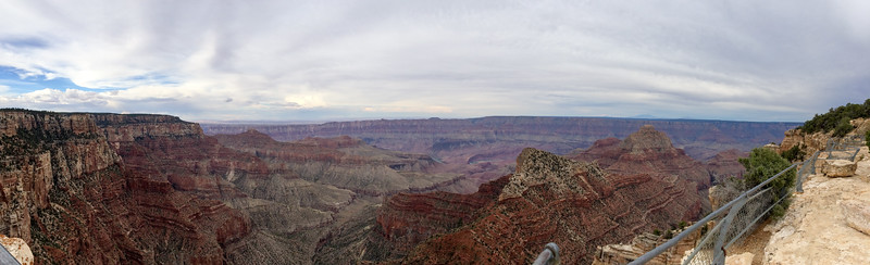 Panoramic view of the Colorado River from Cape Royal, North Rim, Grand Canyon. I think that's Unkar Rapid at center.