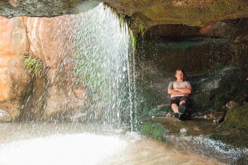 Andy behind falls at Elves Chasm