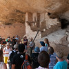 Andy, Mara, and John listen to the Ranger's tour of the Balcony House, Mesa Verde