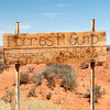 "Driving through Monument Valley, we encountered this sign: ""Forrest Gump ended his crosscountry run at this spot 1980"""