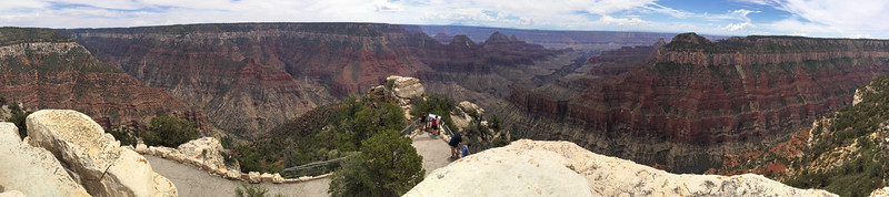 Panoramic view from Bright Angel Point, North Rim, Grand Canyon. Mara and Pam at center overlook.