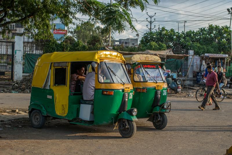 """Autos"" (motorized rickshaws) in Indore."