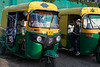 """Autos"" (motorized rickshaws) in Indore."