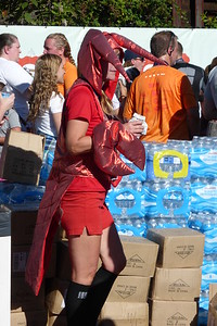 We saw some people dressed as a crawfish.