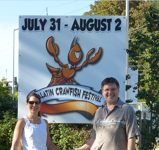 Mike and Diane at the entrance to the Tualatin Crawfish Festival.