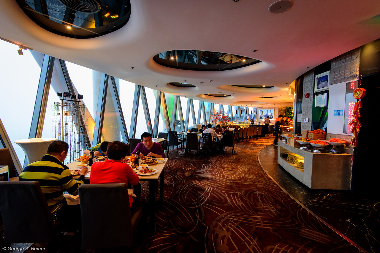 On Saturday we went out to Dim Sum with Regan and his mother (sorry, no photos).  For Dinner Vicky arranged a fabulous surprise... we went to the restaurant at the top of the Guangzhou TV Tower (the tallest point in Guangzhou).
