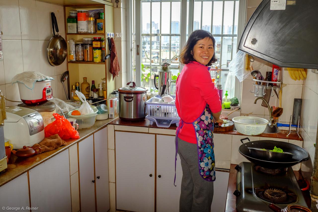 Mango in her kitchen