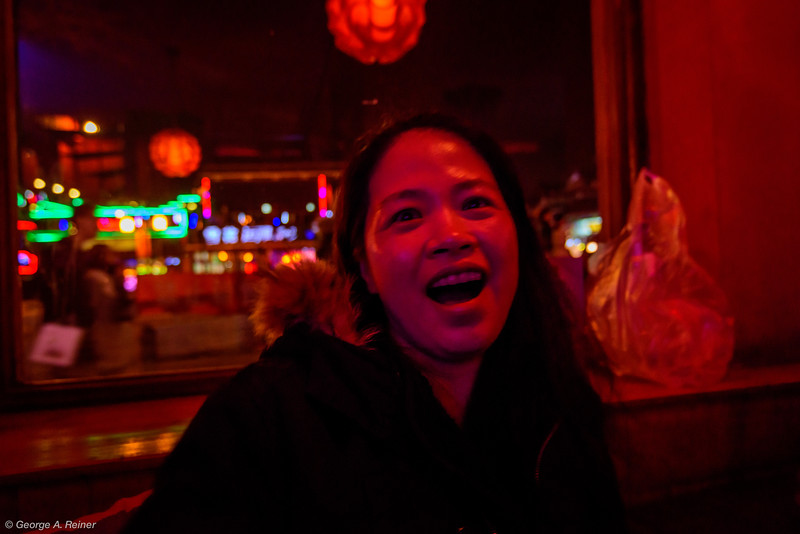 The two performers sang a bunch of Chinese, Cantonese and Western songs.  Vicky is singing along (after a few... ).