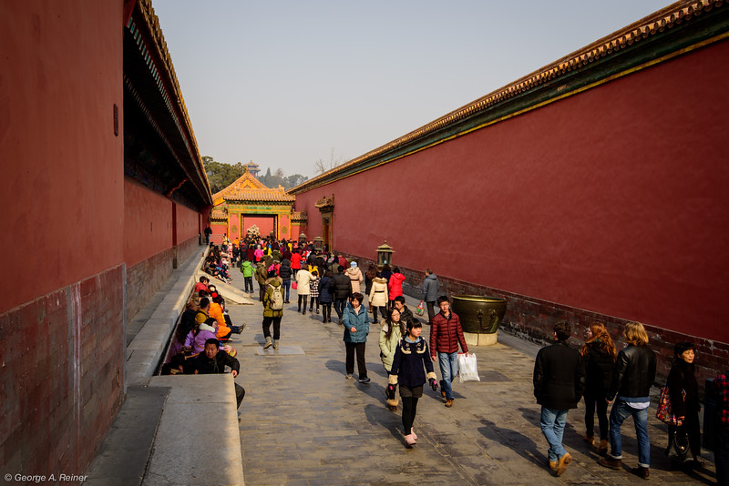 At this point we had traversed basically up 75% of the central axis of the forbidden city through the main courts.  Here we ventured off to one side (the vast majority of the site are these smaller passageways between minor buildings.   We did not tour these this time.