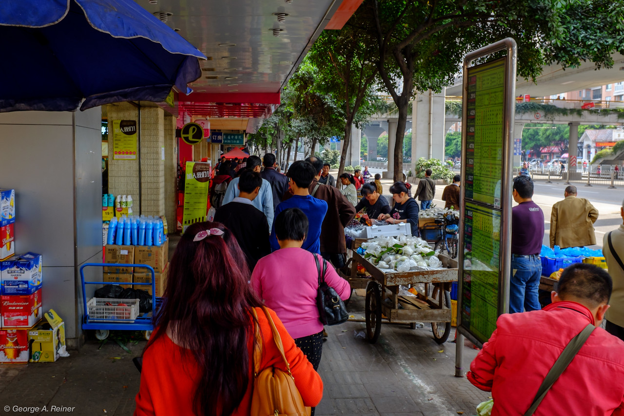 Walking back to Vince's house... passing a street market.