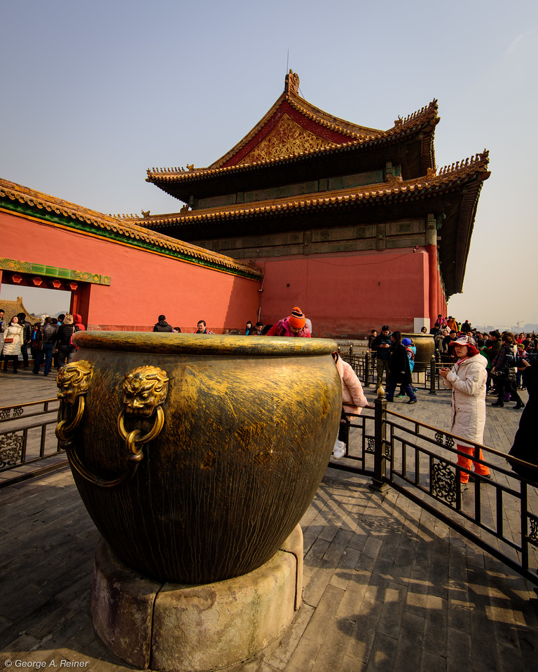 These bronze cauldrons were the fire protection system... there are hundreds of them within the Forbidden City.