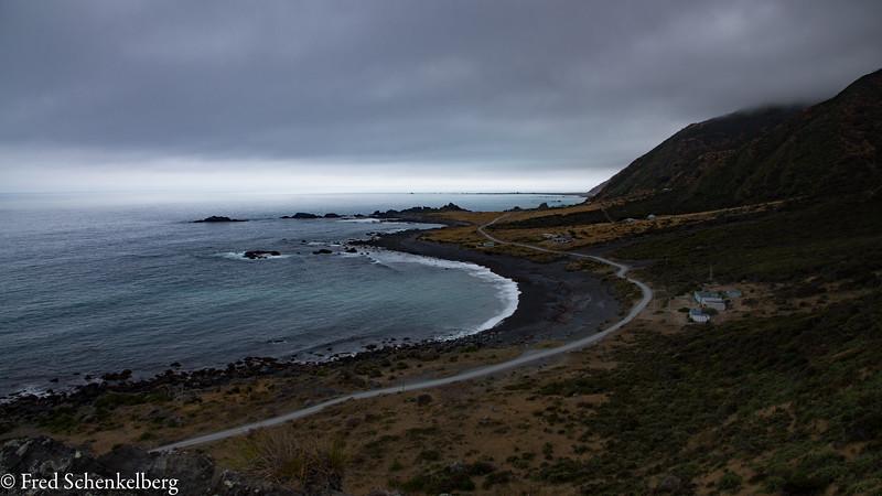 Black sand beach on south coast of North Island