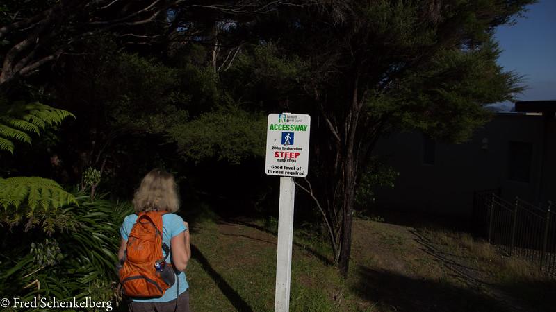 Jack's Bay warning sign - it wasn't steep, had no steps